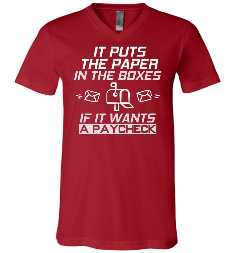 Postal Worker Tees Men's V-Neck Canvas Red / S If it wants a paycheck Men's V-Neck Tshirt