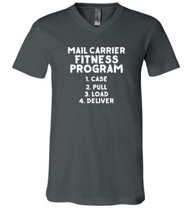 Postal Worker Tees Men's V-Neck Asphalt / S Mail Carrier Fitness program Men's V-Neck Tshirt