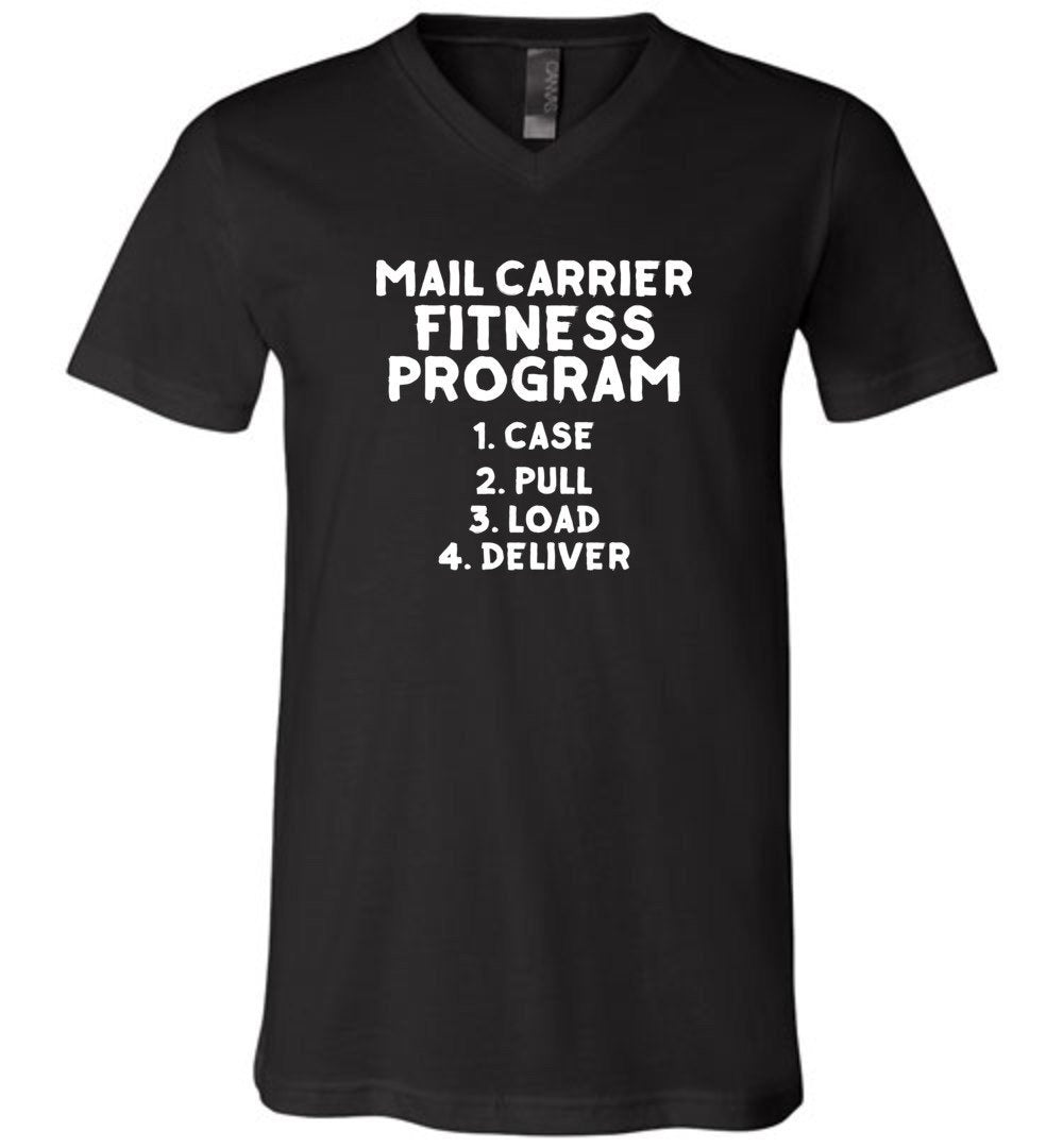 Postal Worker Tees Men's V-Neck Black / S Mail Carrier Fitness program Men's V-Neck Tshirt