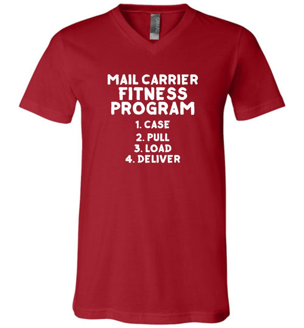 Postal Worker Tees Men's V-Neck Canvas Red / S Mail Carrier Fitness program Men's V-Neck Tshirt