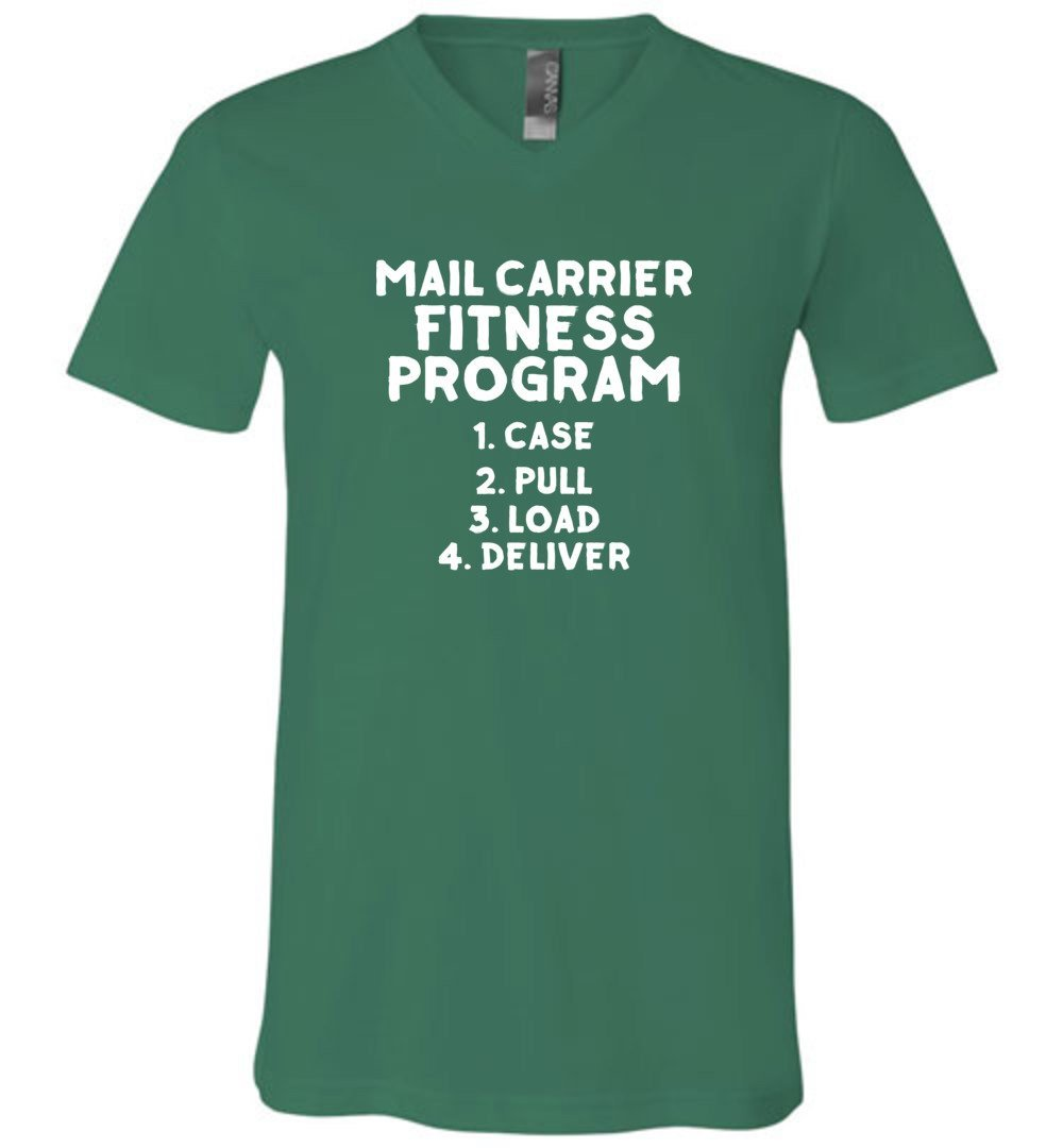 Postal Worker Tees Men's V-Neck Kelly / S Mail Carrier Fitness program Men's V-Neck Tshirt