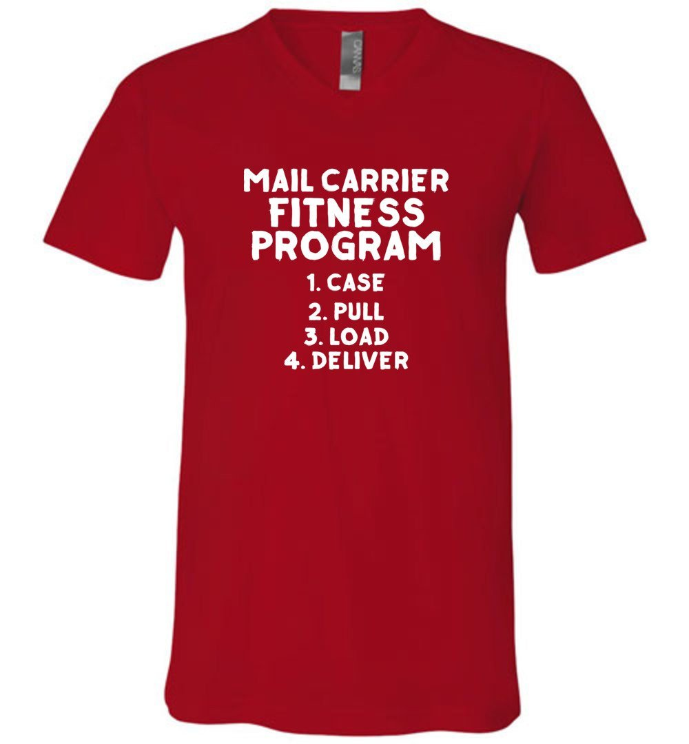 Postal Worker Tees Men's V-Neck Red / S Mail Carrier Fitness program Men's V-Neck Tshirt
