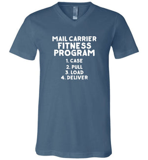 Postal Worker Tees Men's V-Neck Steel Blue / S Mail Carrier Fitness program Men's V-Neck Tshirt