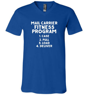 Postal Worker Tees Men's V-Neck True Royal / S Mail Carrier Fitness program Men's V-Neck Tshirt
