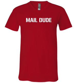 Postal Worker Tees Men's V-Neck Red / S Mail Dude Men's V-Neck Tshirt