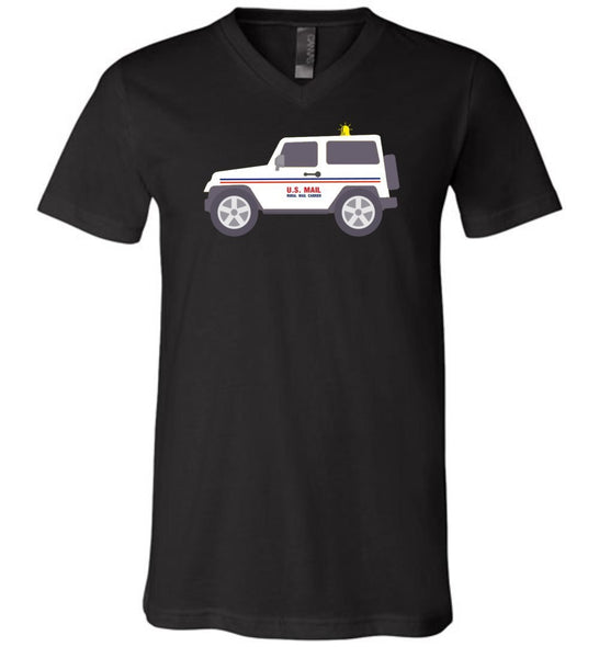 Postal Worker Tees Men's V-Neck Black / S Rural Carrier Mail Jeep Men's V-Neck Tshirt
