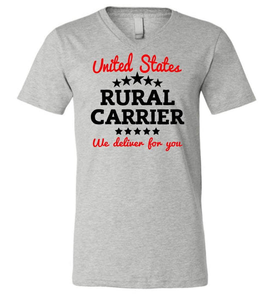 Postal Worker Tees Men's V-Neck Athletic Heather / S Rural Carrier We deliver for you Men's V-Neck Tshirt
