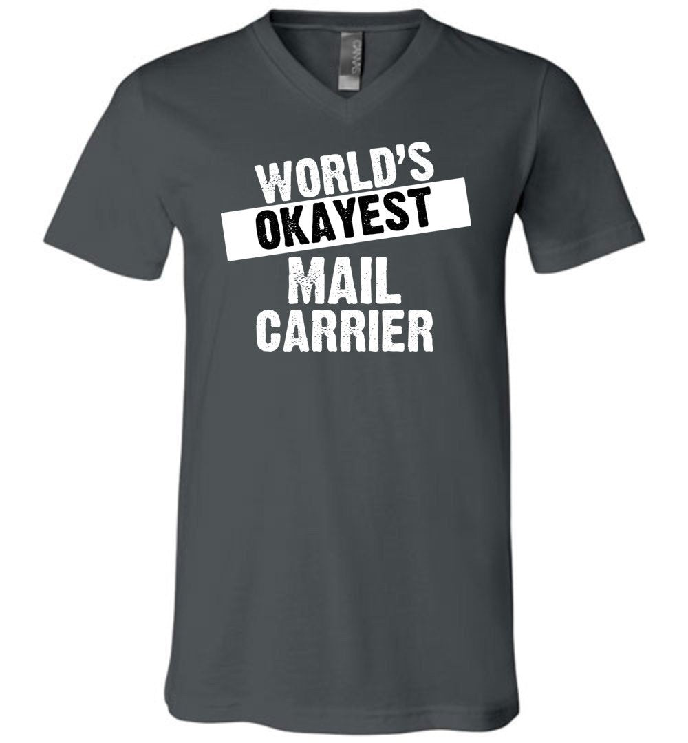 Postal Worker Tees Men's V-Neck Asphalt / S World's Okayest Mail Carrier Men's V-Neck Tshirt