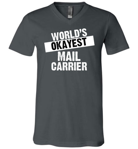 World's Okayest Mail Carrier Men's V-Neck Tshirt