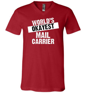 Postal Worker Tees Men's V-Neck Canvas Red / S World's Okayest Mail Carrier Men's V-Neck Tshirt