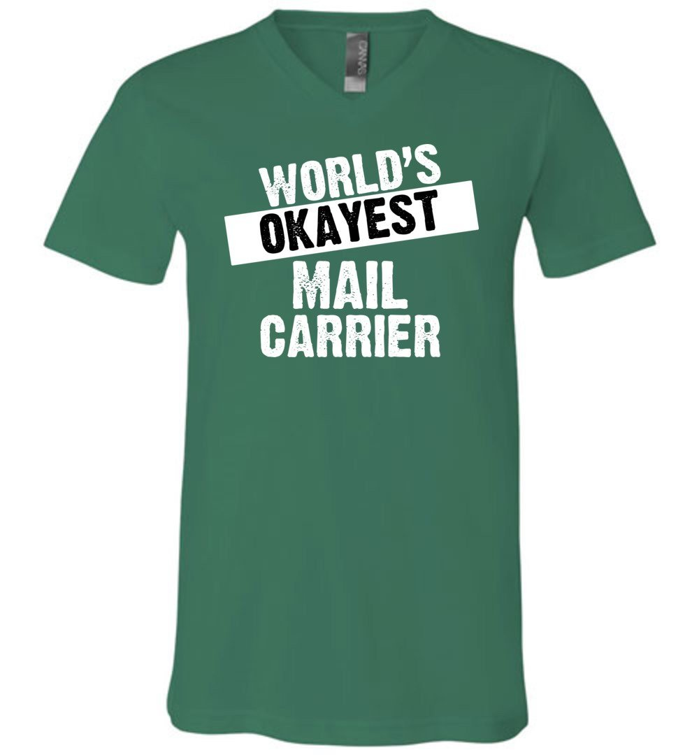 Postal Worker Tees Men's V-Neck Kelly / S World's Okayest Mail Carrier Men's V-Neck Tshirt