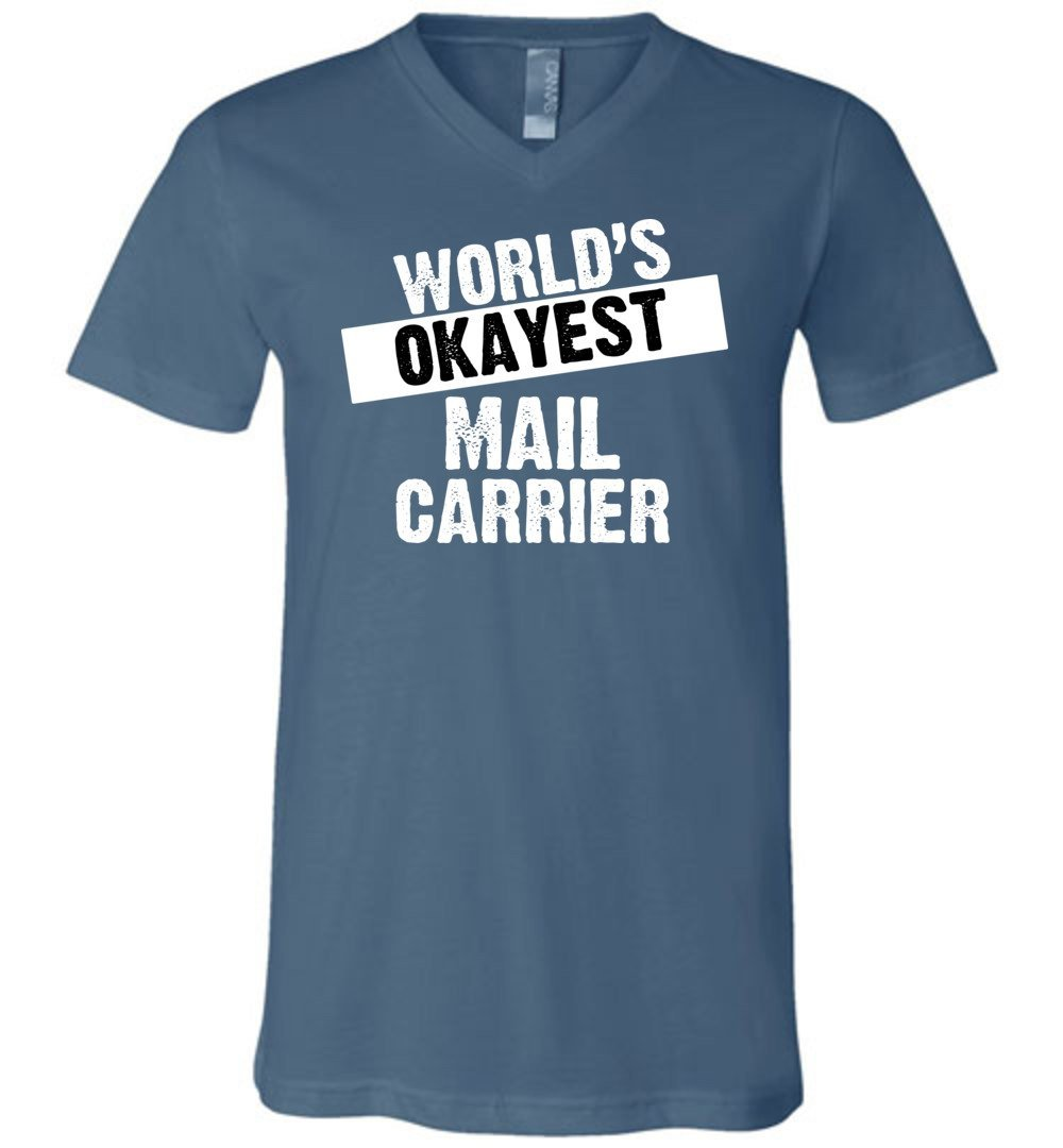 Postal Worker Tees Men's V-Neck Steel Blue / S World's Okayest Mail Carrier Men's V-Neck Tshirt
