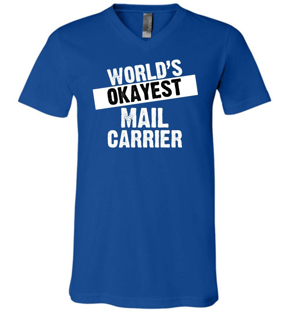 Postal Worker Tees Men's V-Neck True Royal / S World's Okayest Mail Carrier Men's V-Neck Tshirt
