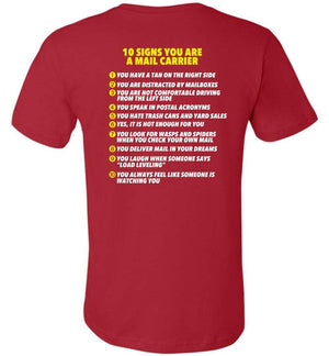 Postal Worker Tees Unisex Tshirt Red / S 10 signs you might be a mail carrier - Back design Tshirt