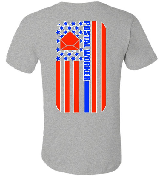 Postal Worker Tees Unisex Tshirt Athletic Heather / S Back Design - Postal Worker Flag Tshirt