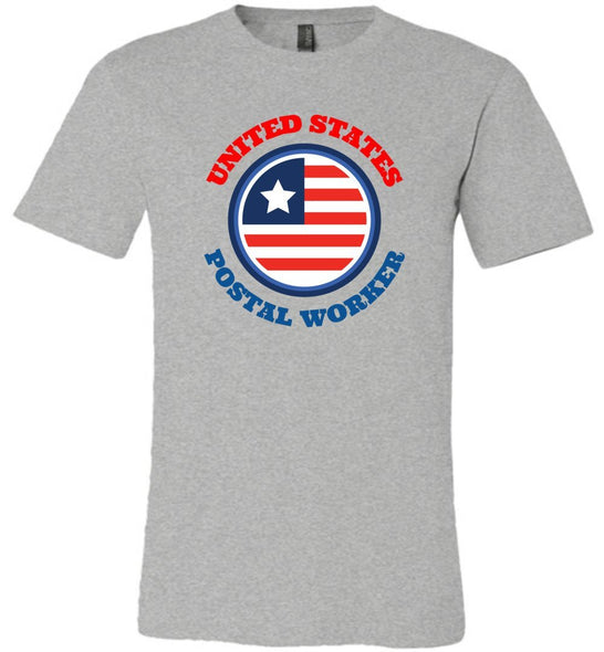 Postal Worker Tees Unisex Tshirt Unisex T-Shirt / Athletic Heather / S Gray US Postal Worker Round Flag