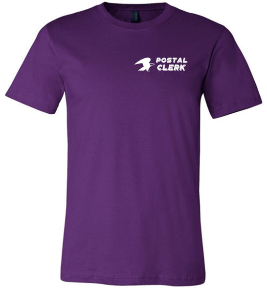 Postal Worker Tees Unisex Tshirt Team Purple / S Postal Clerk left chest design Tshirt