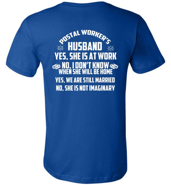 Postal Worker Tees Unisex Tshirt True Royal / S Postal worker's husband - back design Tshirt