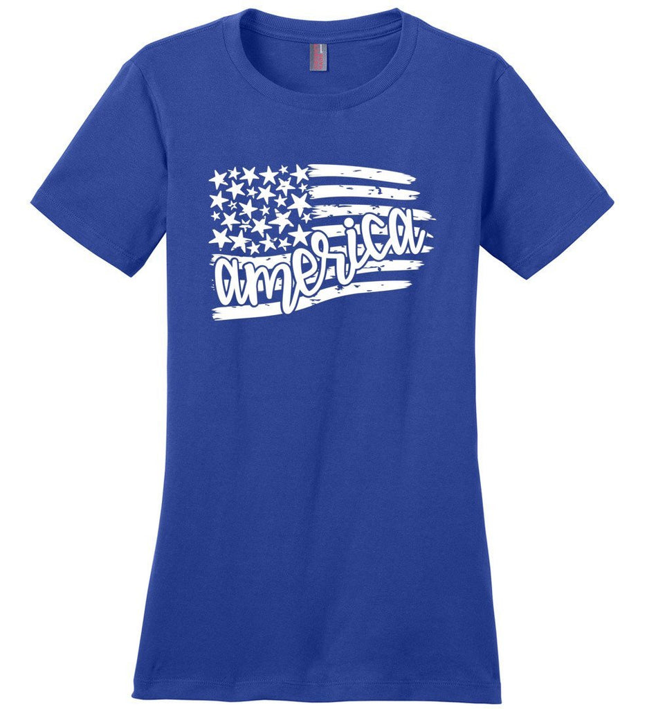 Postal Worker Tees Women's Deep Royal / S Flag America Tshirt