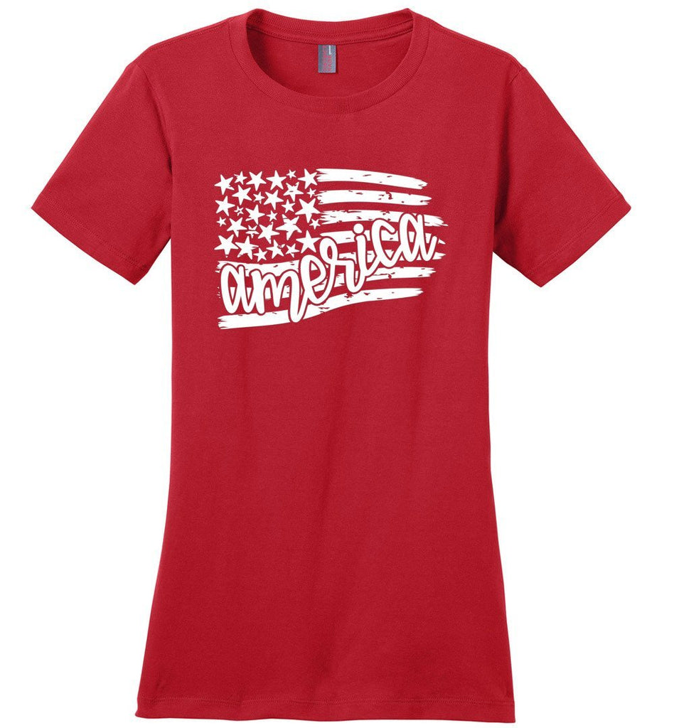 Postal Worker Tees Women's Red / S Flag America Tshirt