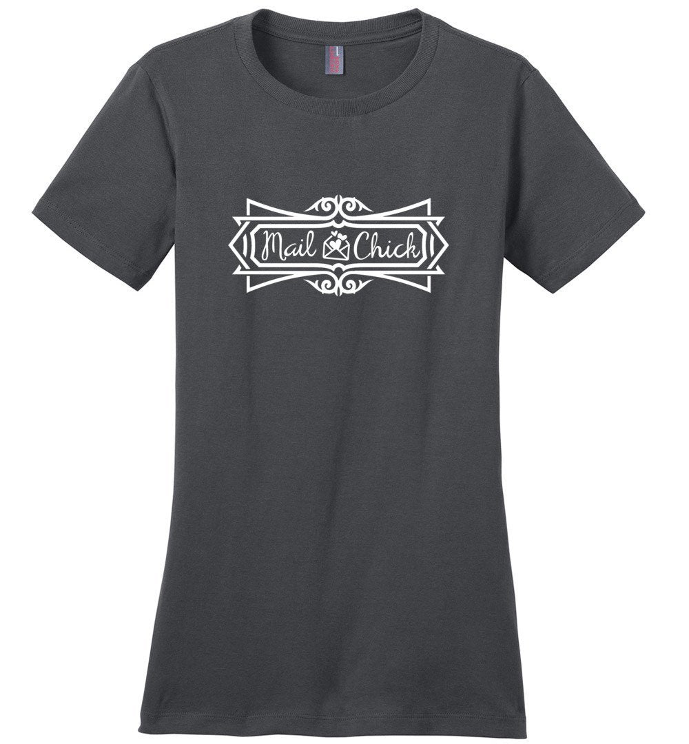 Postal Worker Tees Women's Charcoal / S Mail Chick with letter Women's Tshirt