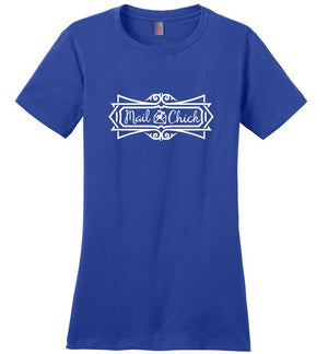 Postal Worker Tees Women's Deep Royal / S Mail Chick with letter Women's Tshirt