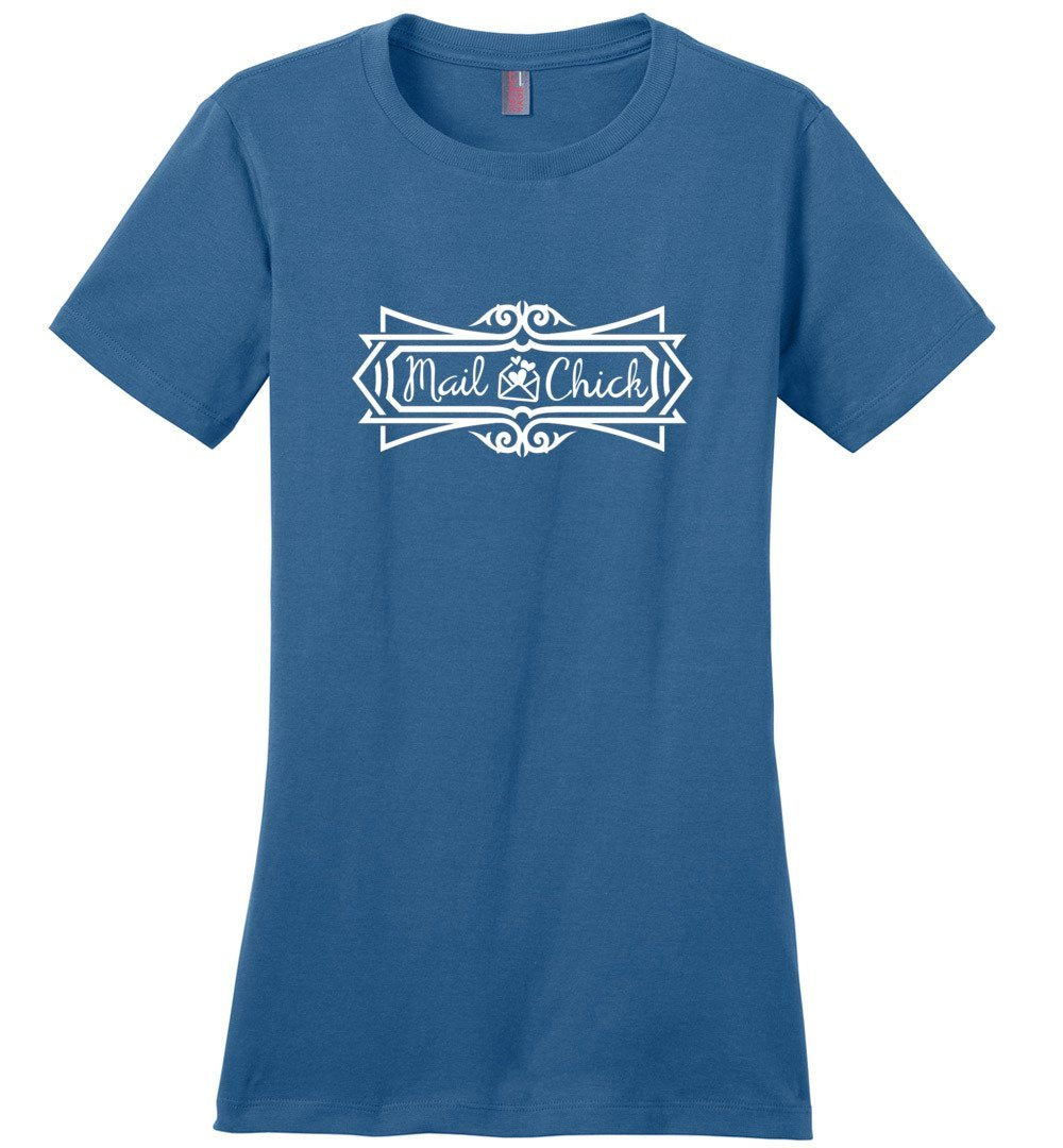Postal Worker Tees Women's Maritime Blue / S Mail Chick with letter Women's Tshirt