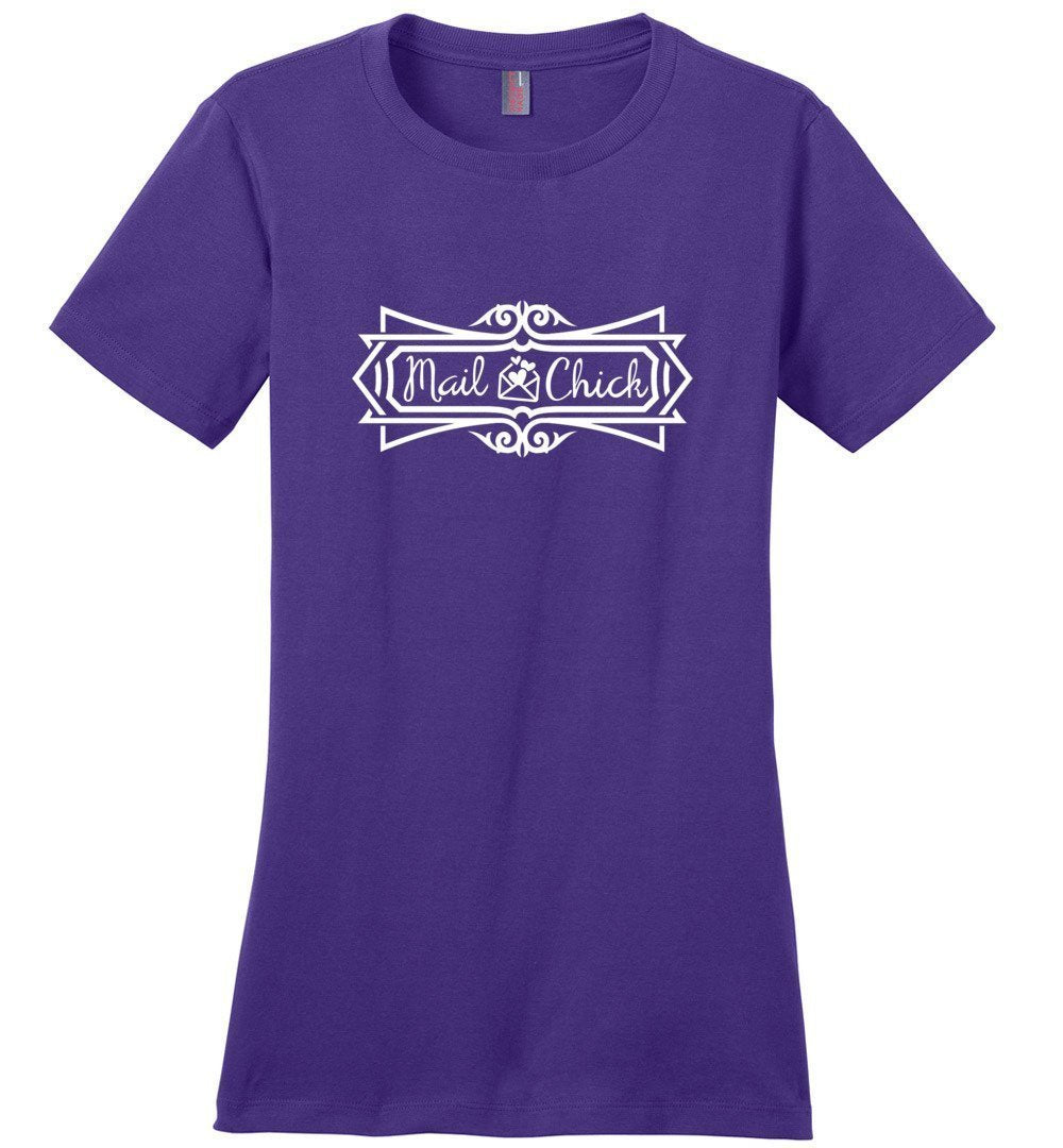 Postal Worker Tees Women's Purple / S Mail Chick with letter Women's Tshirt
