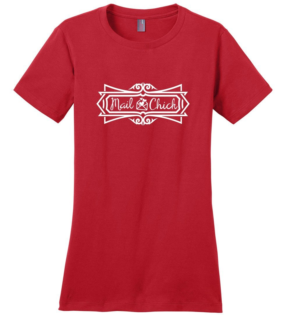Postal Worker Tees Women's Red / S Mail Chick with letter Women's Tshirt