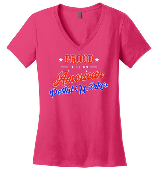Postal Worker Tees Women's Dark Fuchsia / S Proud to be an American Postal Worker Women's V-Neck Tshirt