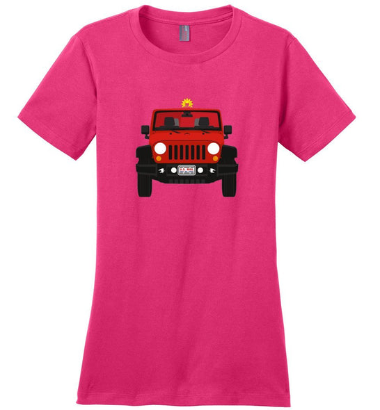 Postal Worker Tees Women's Dark Fuchsia / S Red Rural Carrier Mail Jeep Women's Tshirt
