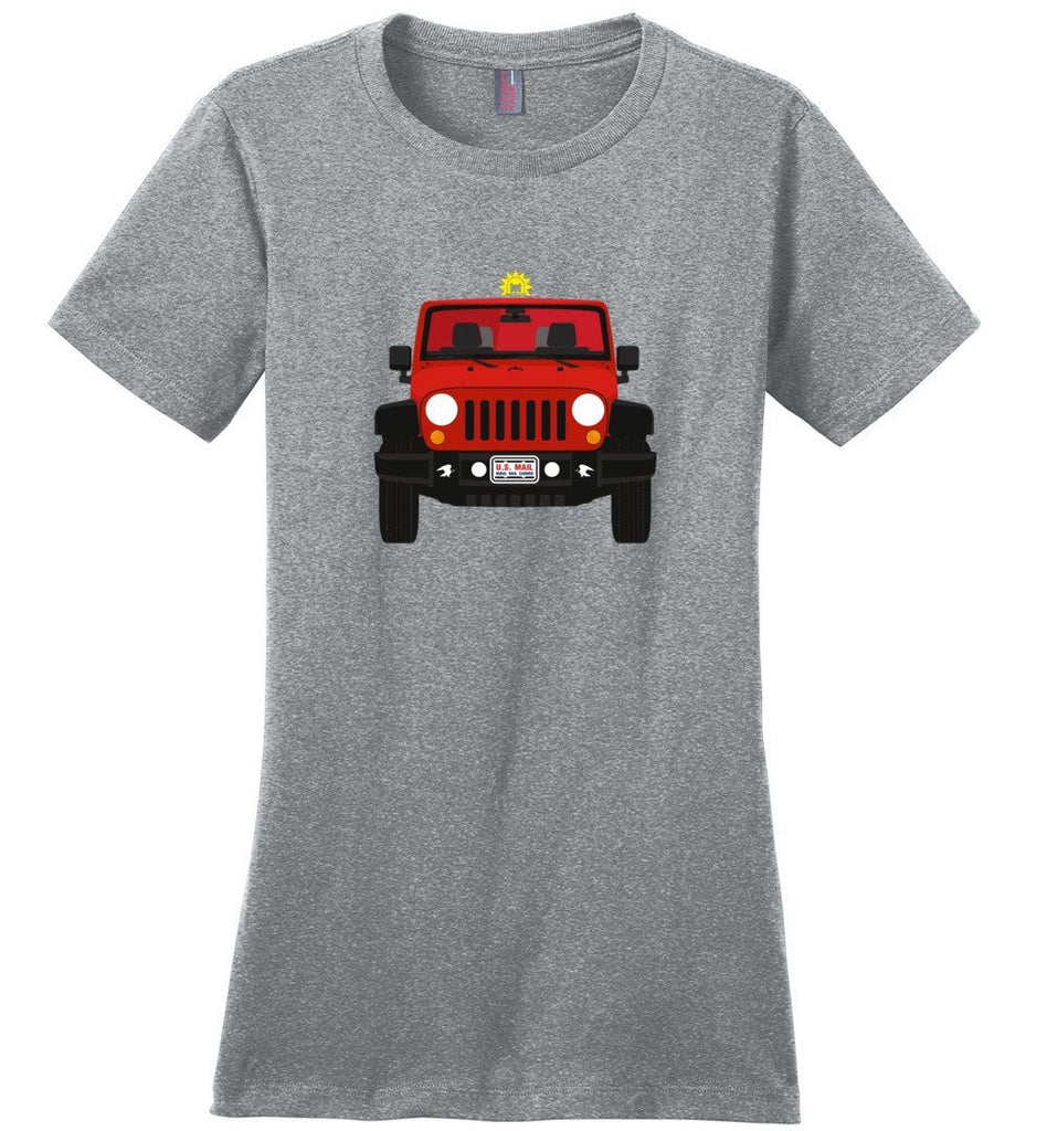Postal Worker Tees Women's Heathered Steel / S Red Rural Carrier Mail Jeep Women's Tshirt