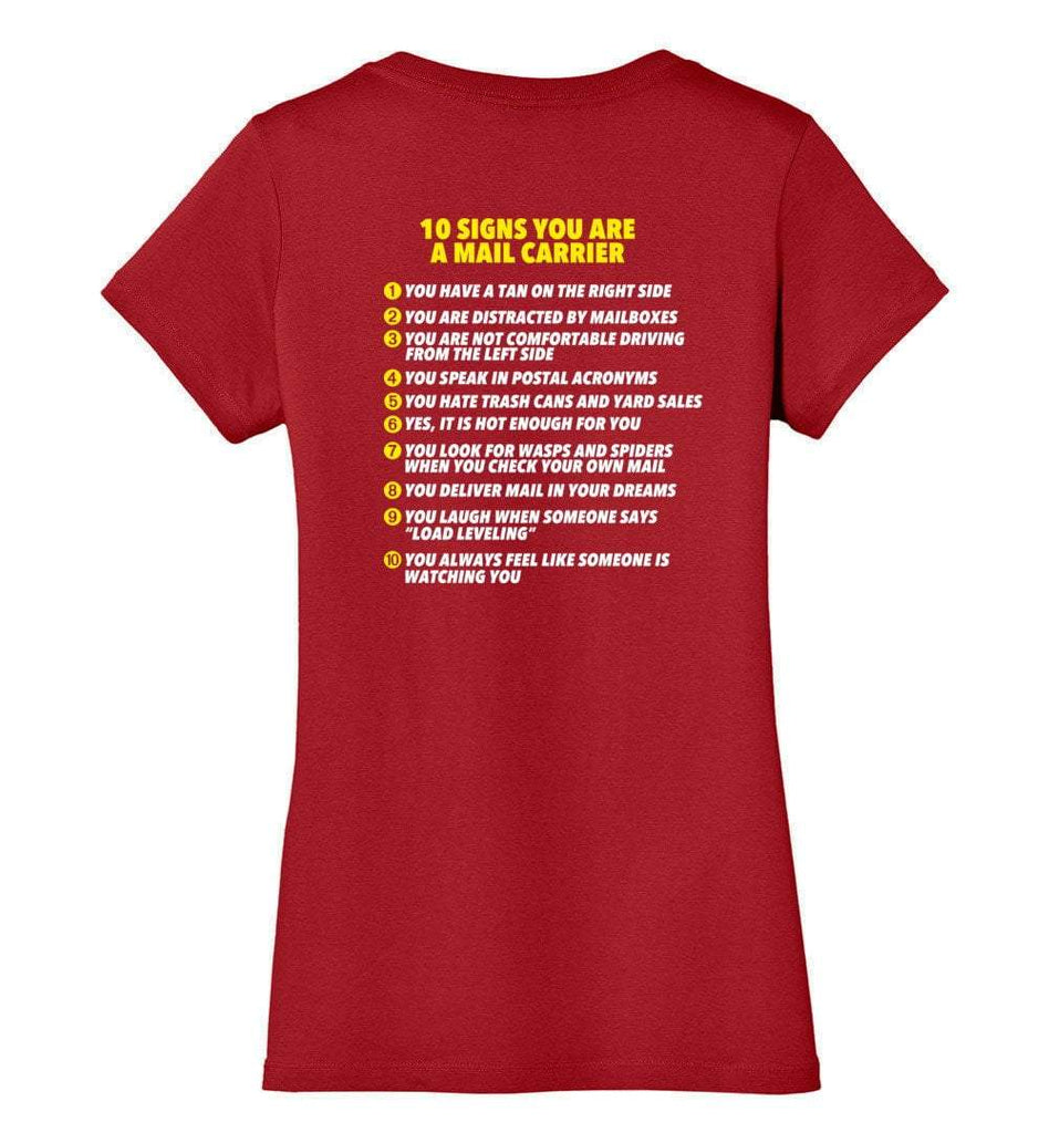 Postal Worker Tees Women's V-Neck Red / XS 10 signs you might be a mail carrier - Back design Women's V-Neck Tshirt