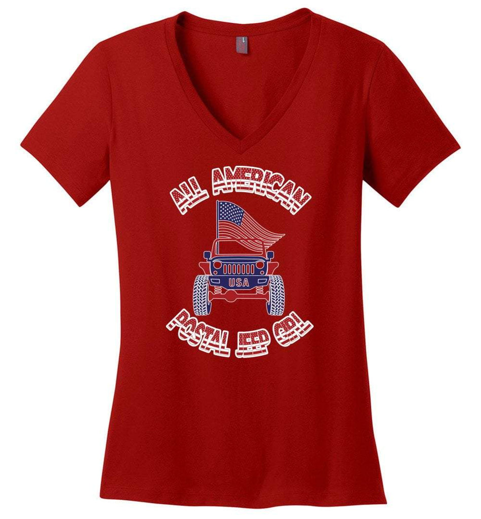Postal Worker Tees Women's V-Neck Red / XS All american postal Jeep girl Women's V-Neck Tshirt