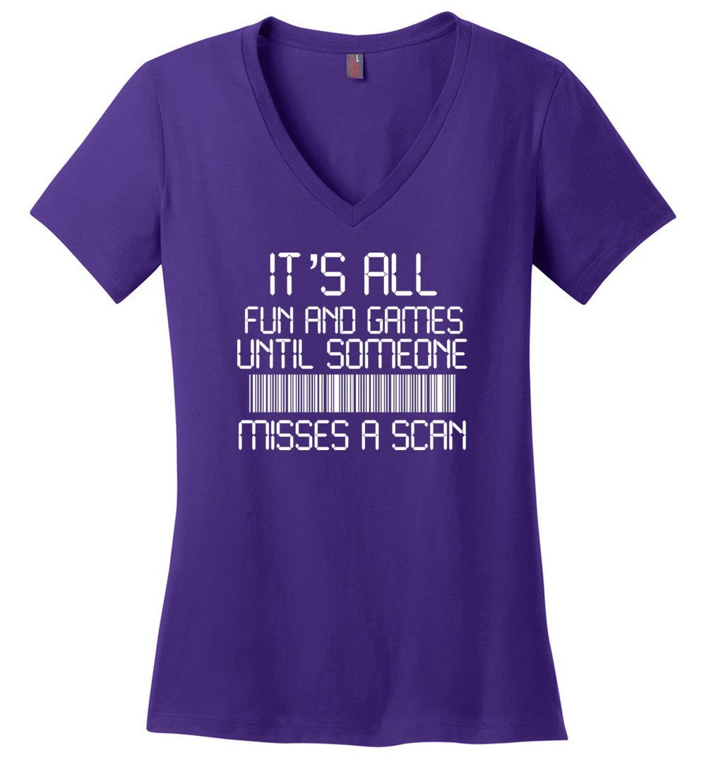 Postal Worker Tees Women's V-Neck Purple / S All fun and games Women's V-Neck Tshirt
