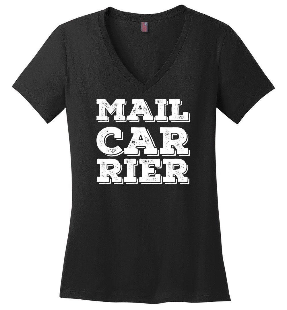 Postal Worker Tees Women's V-Neck Black / S Big Letter Mail Carrier Women's V-Neck Tee