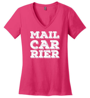 Postal Worker Tees Women's V-Neck Dark Fuchsia / S Big Letter Mail Carrier Women's V-Neck Tee
