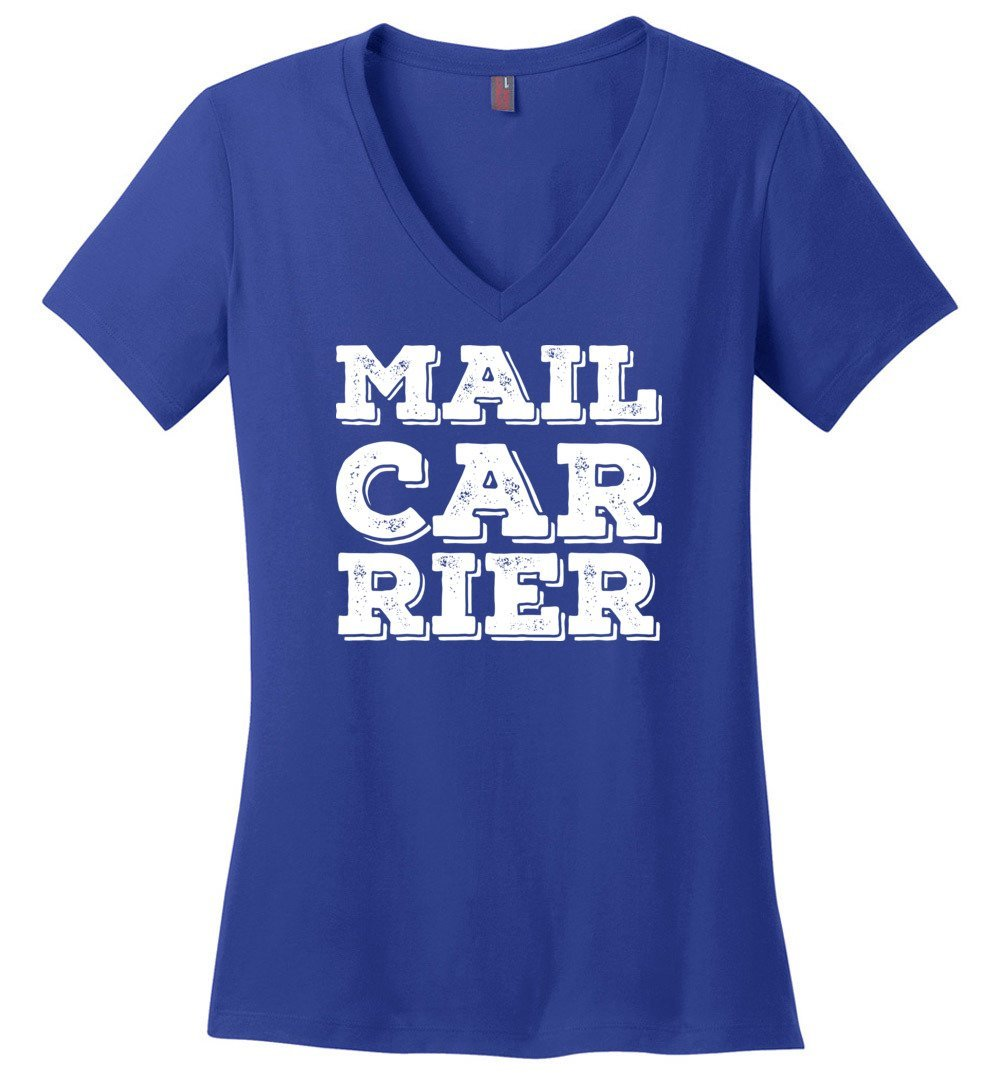 Postal Worker Tees Women's V-Neck Deep Royal / S Big Letter Mail Carrier Women's V-Neck Tee