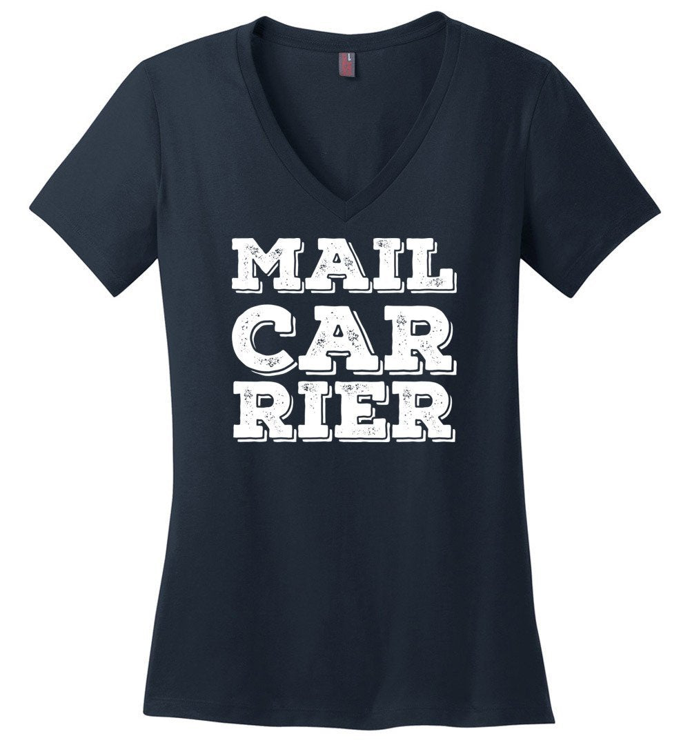 Postal Worker Tees Women's V-Neck Navy / S Big Letter Mail Carrier Women's V-Neck Tee