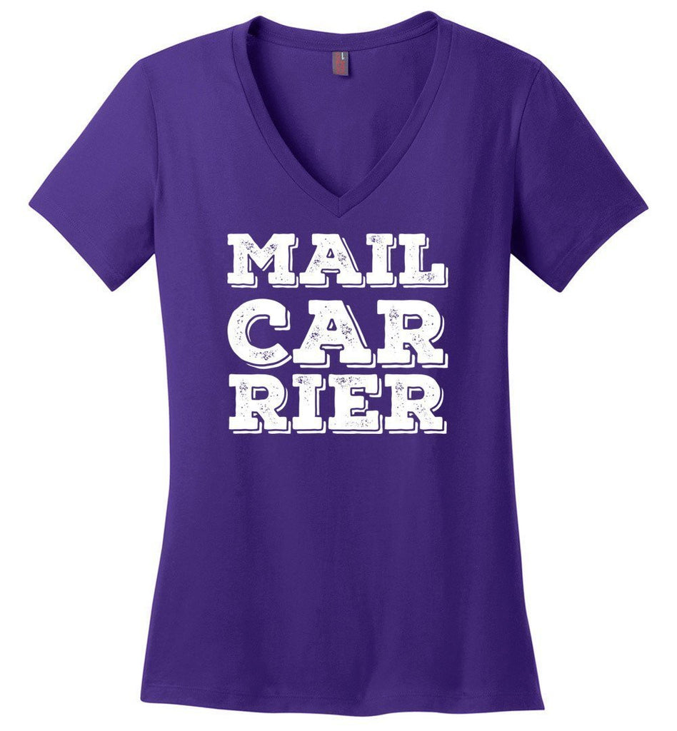 Postal Worker Tees Women's V-Neck Purple / S Big Letter Mail Carrier Women's V-Neck Tee