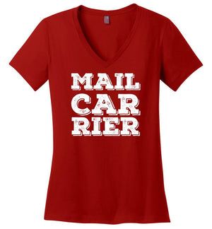 Postal Worker Tees Women's V-Neck Red / S Big Letter Mail Carrier Women's V-Neck Tee