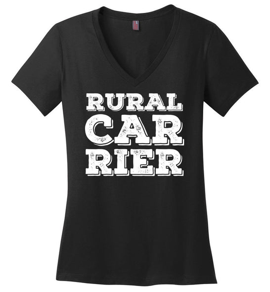 Postal Worker Tees Women's V-Neck Black / S Big letter Rural Carrier Women's V-Neck Tshirt