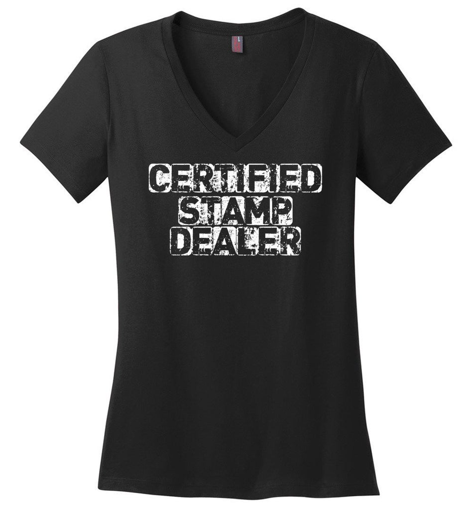Postal Worker Tees Women's V-Neck Black / S Certified Stamp Dealer Women's V-Neck Tshirt