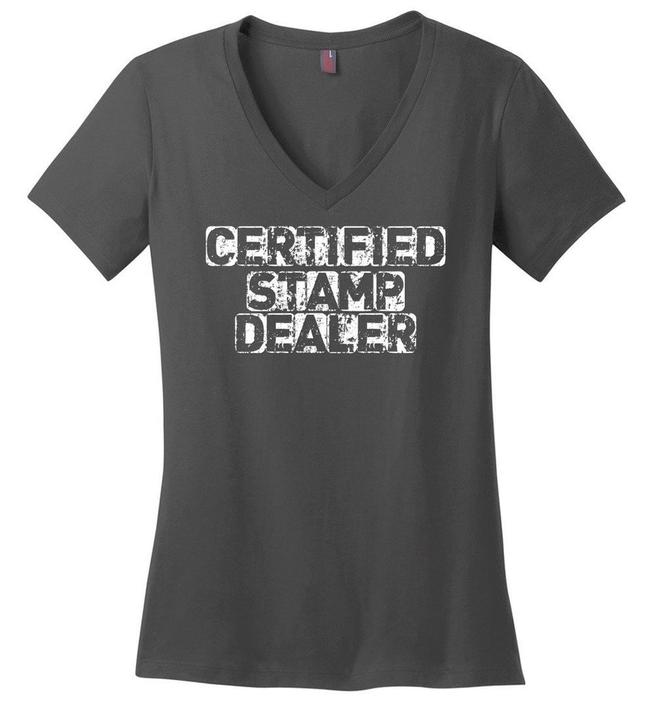 Postal Worker Tees Women's V-Neck Charcoal / S Certified Stamp Dealer Women's V-Neck Tshirt