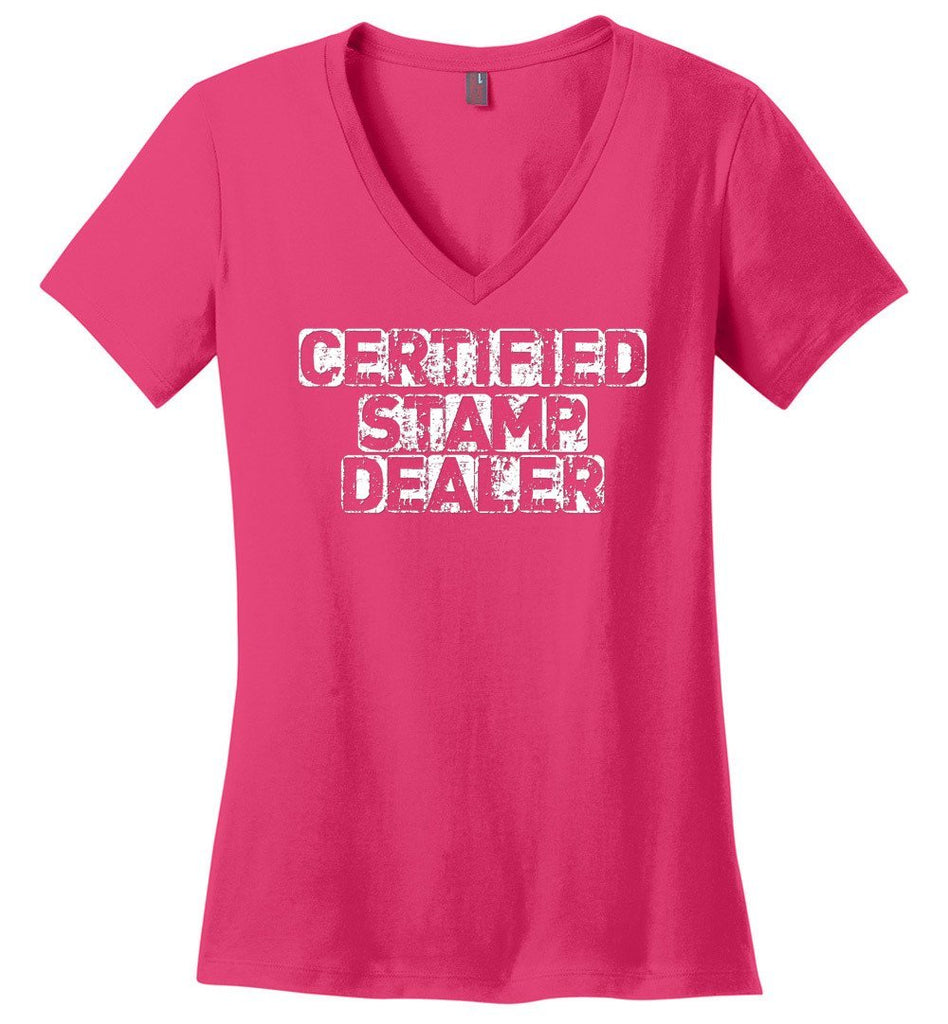 Postal Worker Tees Women's V-Neck Dark Fuchsia / S Certified Stamp Dealer Women's V-Neck Tshirt