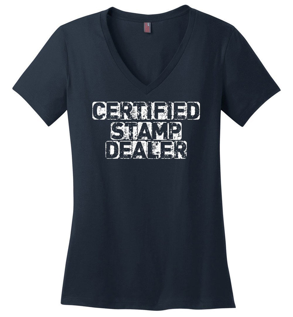 Postal Worker Tees Women's V-Neck Navy / S Certified Stamp Dealer Women's V-Neck Tshirt