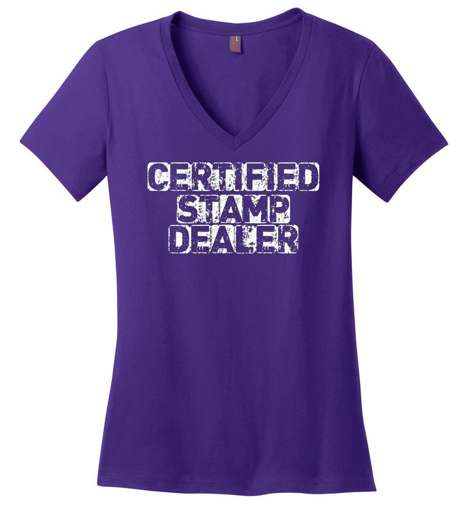 Postal Worker Tees Women's V-Neck Purple / S Certified Stamp Dealer Women's V-Neck Tshirt