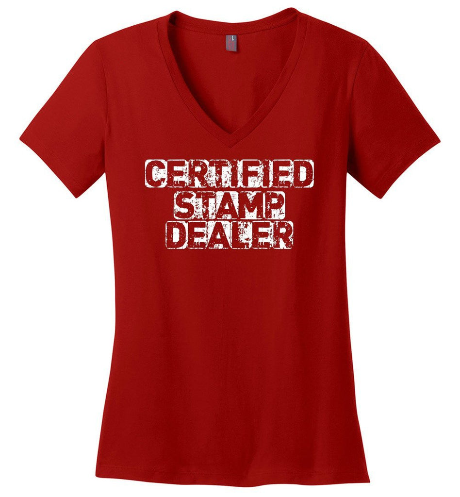 Postal Worker Tees Women's V-Neck Red / S Certified Stamp Dealer Women's V-Neck Tshirt