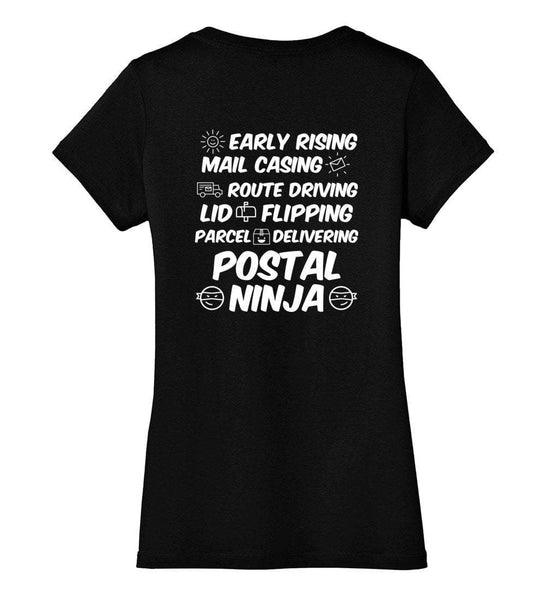 Postal Worker Tees Women's V-Neck Black / XS Early rising, mail casing Postal ninja Back design Women's V-Neck Tshirt