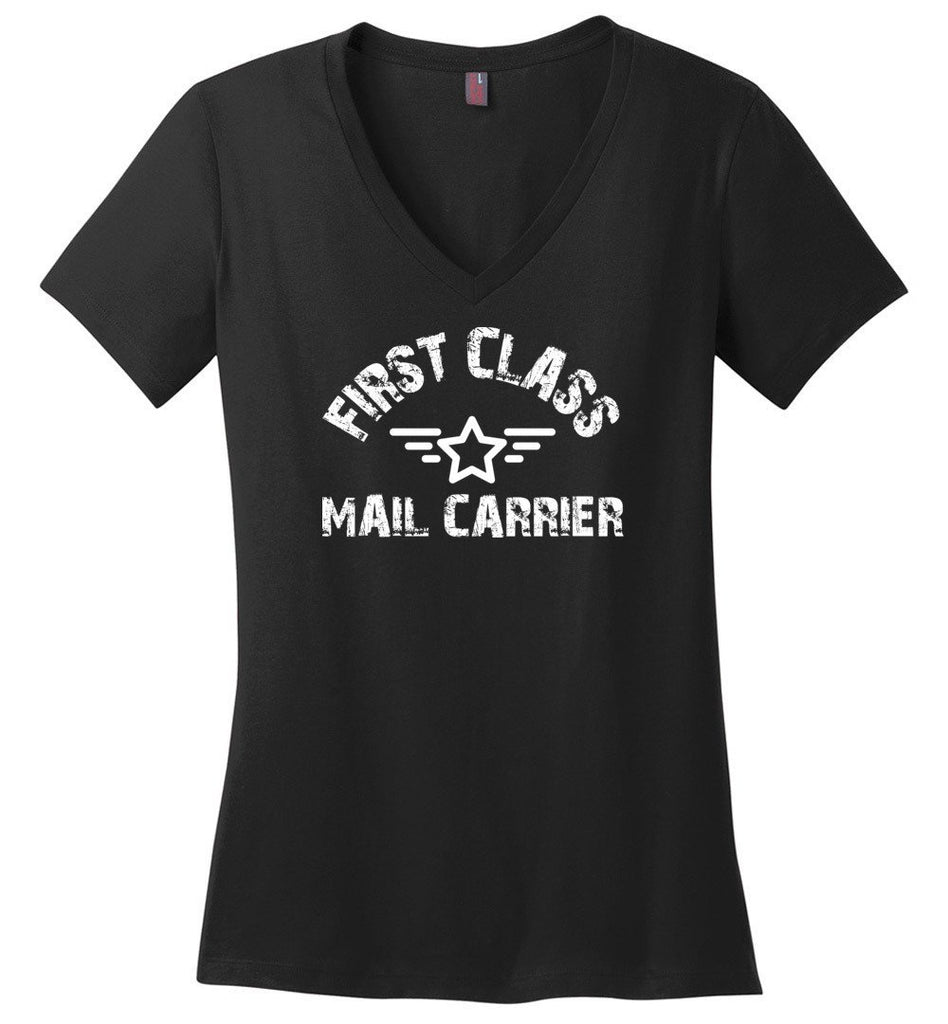 Postal Worker Tees Women's V-Neck Black / S First class mail carrier Women's V-Neck Tshirt